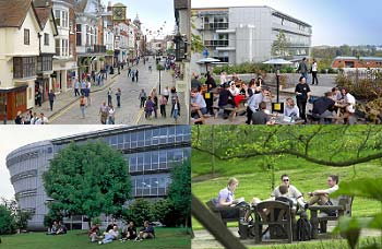 Images of the campus and Guildford